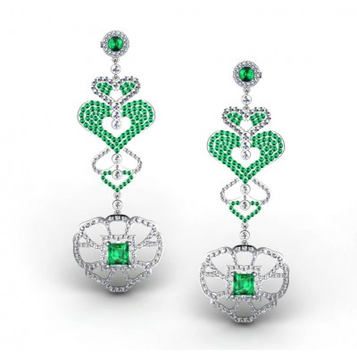 Heart-Shaped Earrings With Green Emeralds and Diamonds