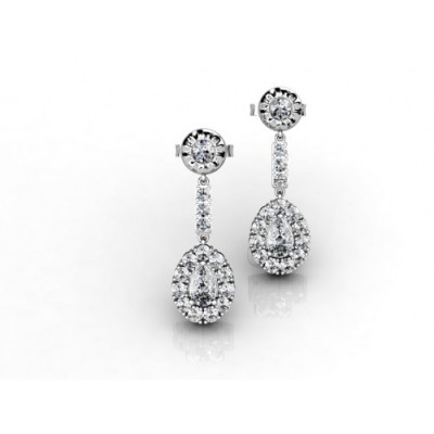 18K Chic Diamond Dangling Earrings