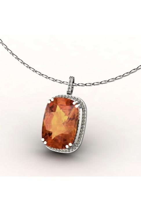imperial topaz pendant with 54 diamonds