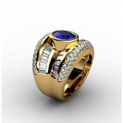 Impressive gemstone ring with big central sapphire and diamonds