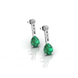 18K emerald pear cut pangling earrings
