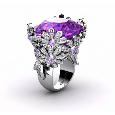 lovely purple flower designer ring with amethyst