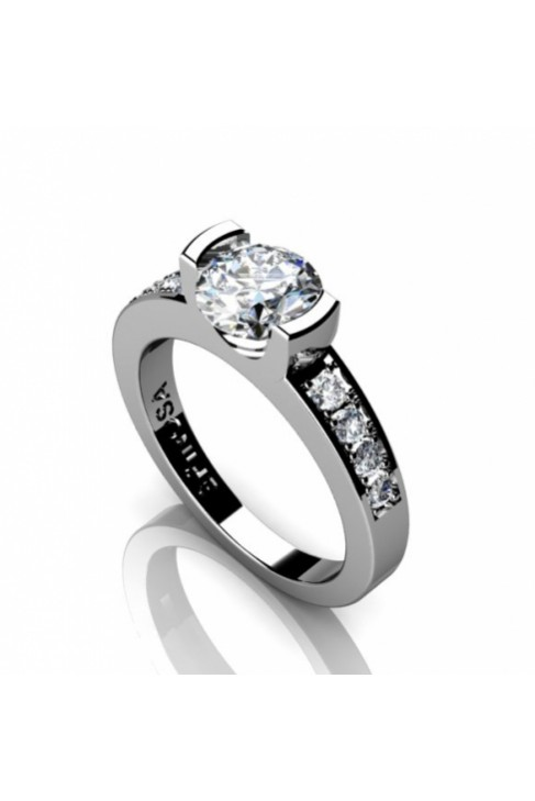 minimalistic 18K white gold engagement ring with diamonds